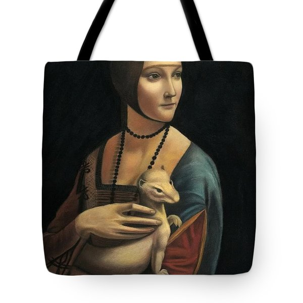 Lady With Ermine - Pastel Tote Bag by Vishvesh Tadsare