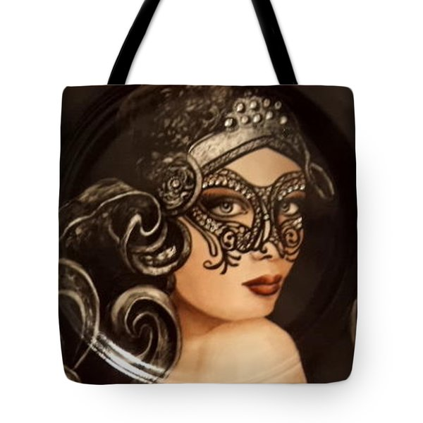 Lady With Mask Tote Bag