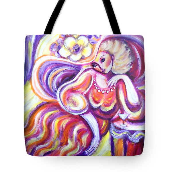 Lady With Purple Hat Tote Bag
