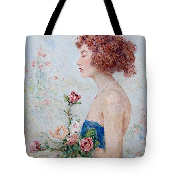 Lady With Roses  Tote Bag