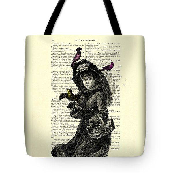 Lady With Umbrella In Winter Landscape Print On Old Book Page Tote Bag