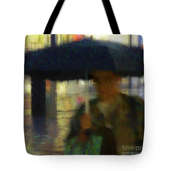 Lady With Umbrella Tote Bag