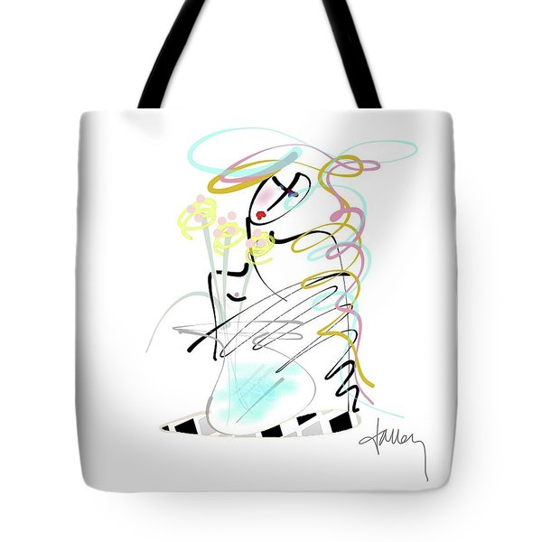 Tote Bag featuring the mixed media Lady With Yellow Flowers by Larry Talley