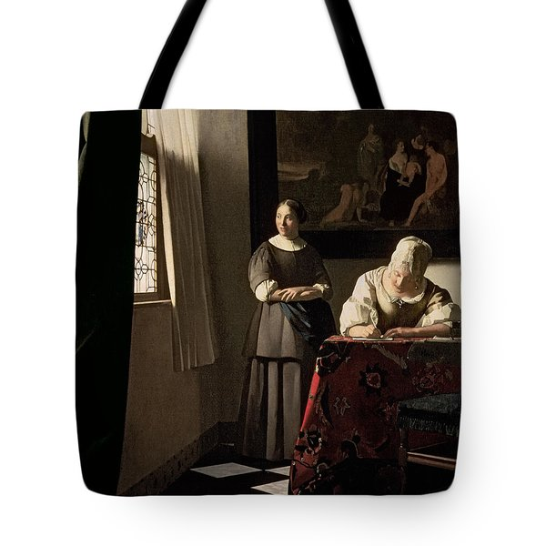 Lady Writing A Letter With Her Maid Tote Bag