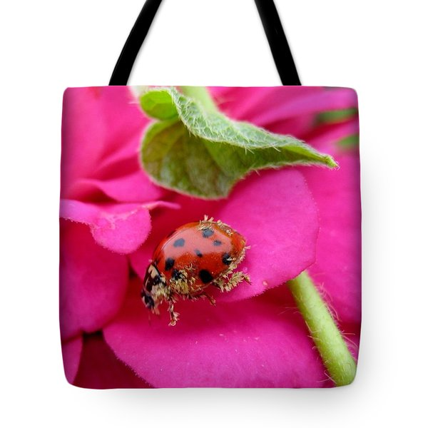Tote Bag featuring the photograph Ladybug - Gardening by Susan Carella