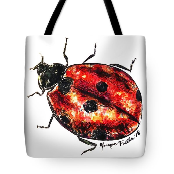 Tote Bag featuring the painting Ladybug by Monique Faella
