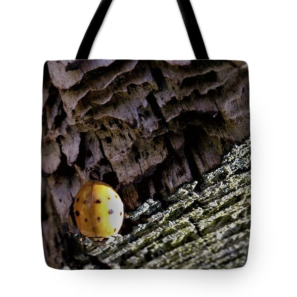 Ladybug On A Log Tote Bag