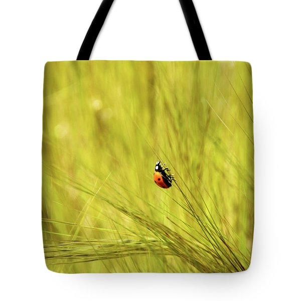 Ladybug In A Wheat Field Tote Bag