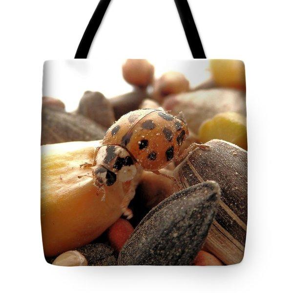 Ladybug On The Run Tote Bag by Belinda Lee