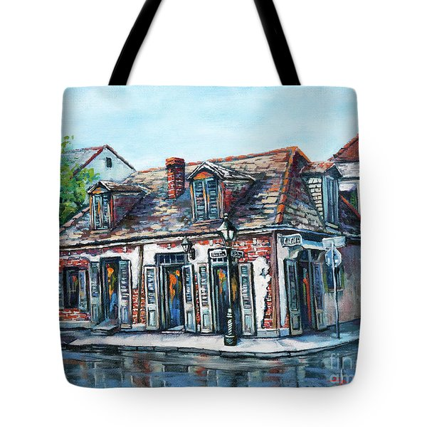 Tote Bag featuring the painting Lafitte's Blacksmith Shop by Dianne Parks