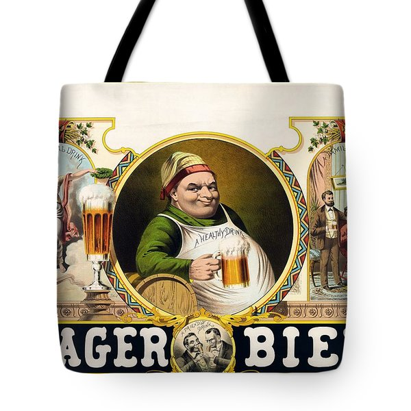 Lager Beer Stock Advertising Poster 1879 Tote Bag