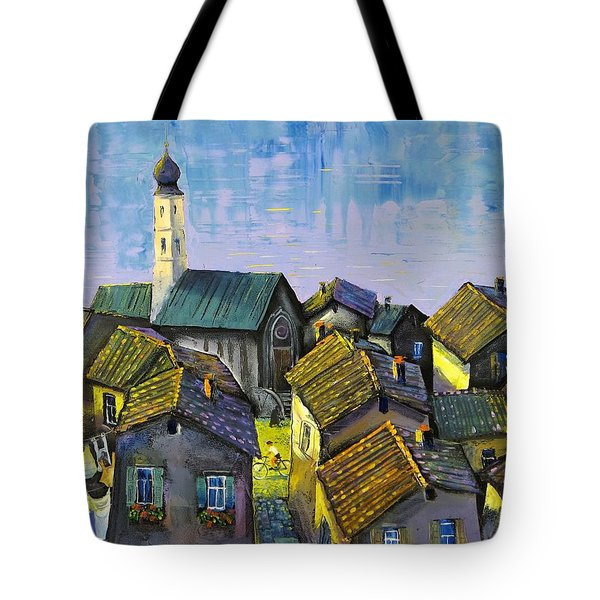 Tote Bag featuring the painting Lago   Caldonazza by Mikhail Zarovny