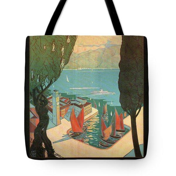 Lago Di Garda Riva, Italy - Lake Garda - Retro Travel Poster - Vintage Poster Tote Bag