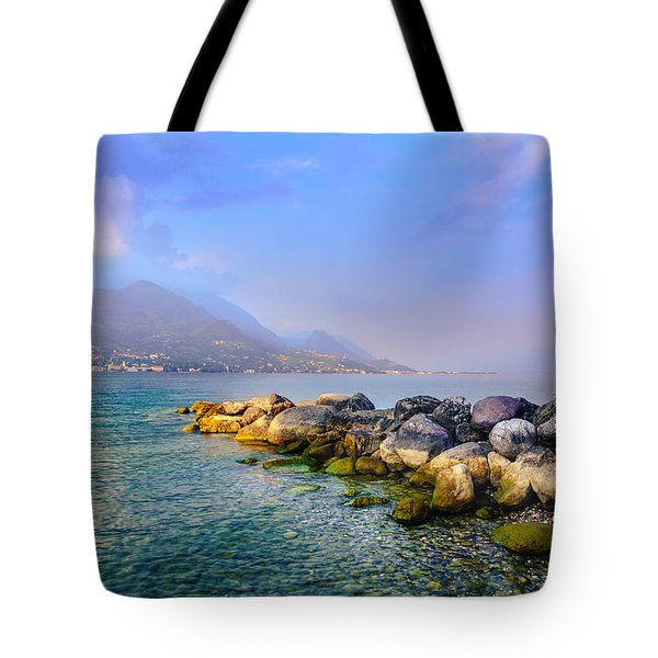 Tote Bag featuring the photograph Lago Di Garda. Stones by Dmytro Korol