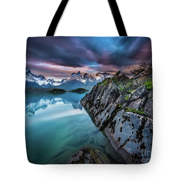 Lago Pehoe Twilight Tote Bag