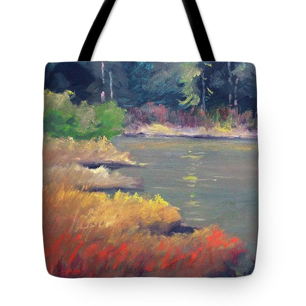 Tote Bag featuring the painting Lagoon by Nancy Merkle