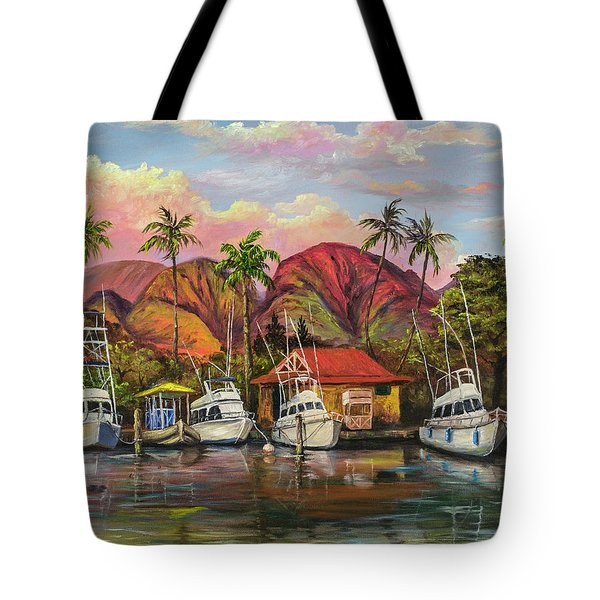 Tote Bag featuring the painting Lahaina Harbor Sunset by Darice Machel McGuire