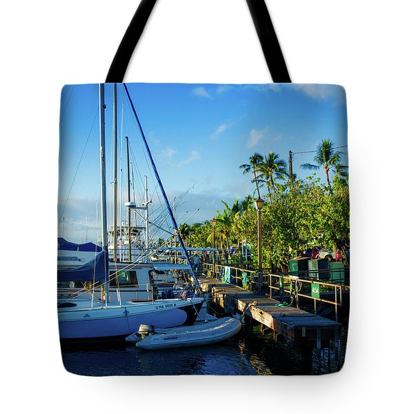 Tote Bag featuring the photograph Lahaina Marina Blue Twilight by Sharon Mau