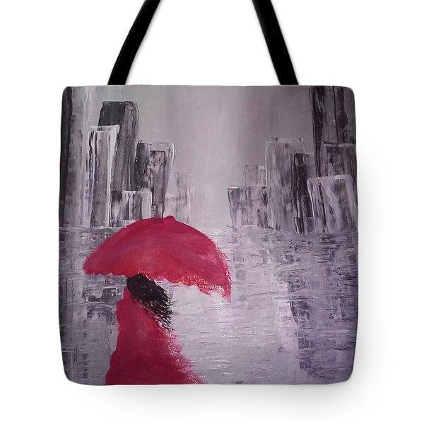 Tote Bag featuring the painting Laidy In The City Abstract Art by Sheila Mcdonald