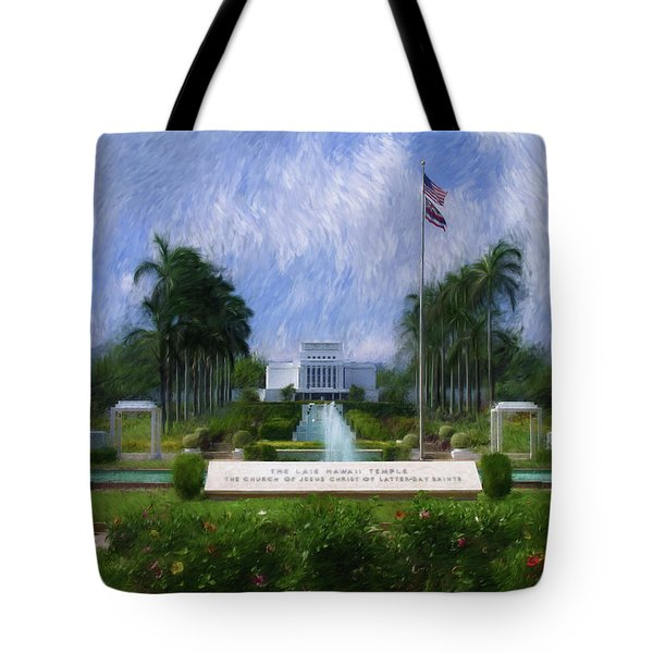 Tote Bag featuring the painting Laie Hawaii Temple by Geoffrey C Lewis