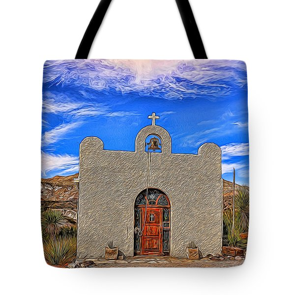 Lajitas Chapel Painted Tote Bag by Judy Vincent