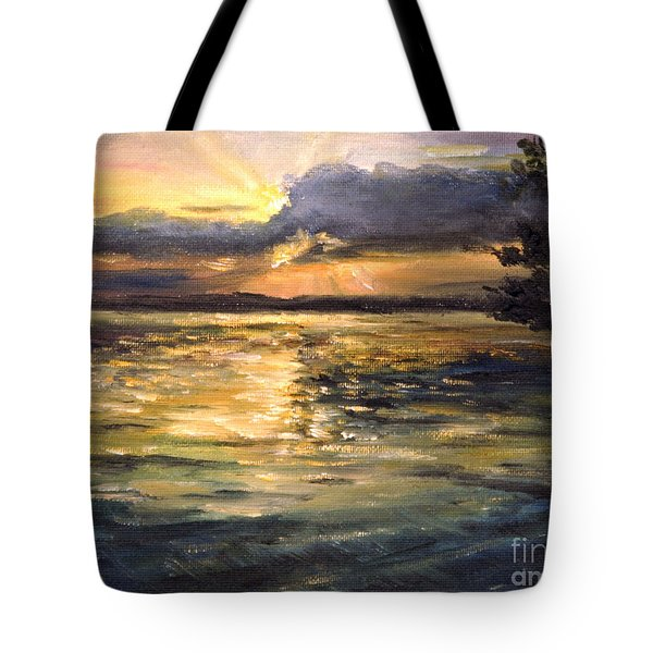 Tote Bag featuring the painting Lake by Arturas Slapsys
