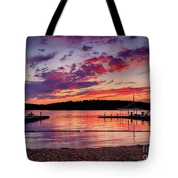 Lake Beach Sunset Tote Bag by Mark Miller