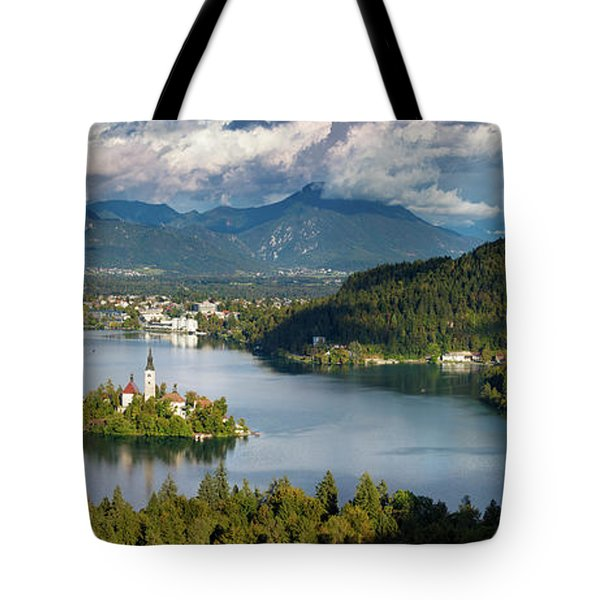 Tote Bag featuring the photograph Lake Bled Pano by Brian Jannsen