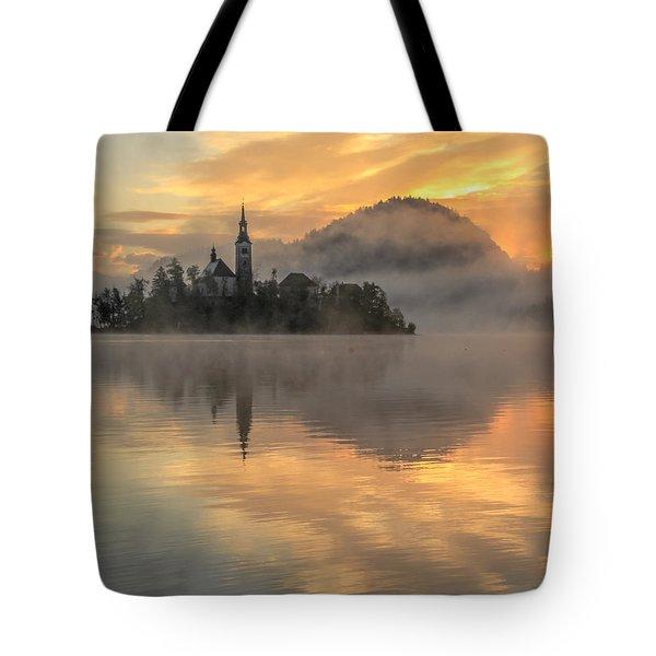Lake Bled Sunrise Slovenia Tote Bag