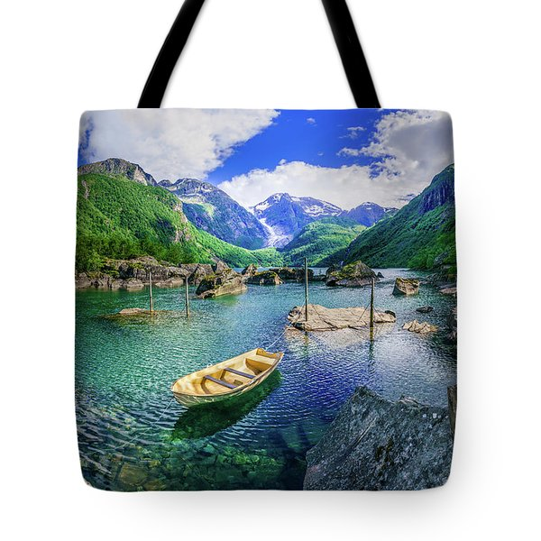 Tote Bag featuring the photograph Lake Bondhusvatnet by Dmytro Korol