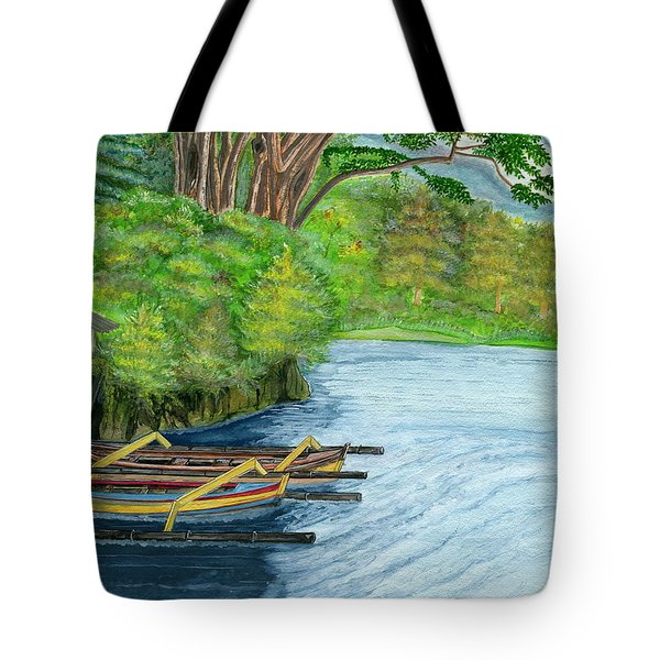 Tote Bag featuring the painting Lake Bratan Boats Bali Indonesia by Melly Terpening