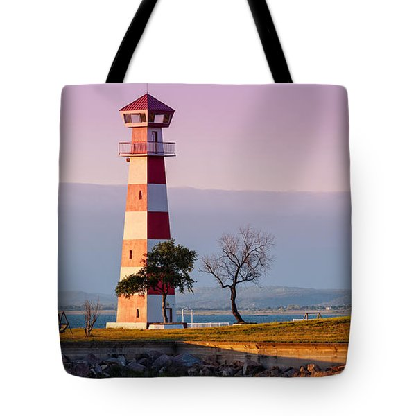 Lake Buchanan Lighthouse In Golden Hour Sunset Light - Texas Hill Country Tote Bag