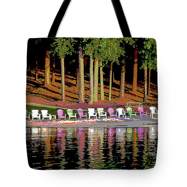 Lake Chairs Tote Bag