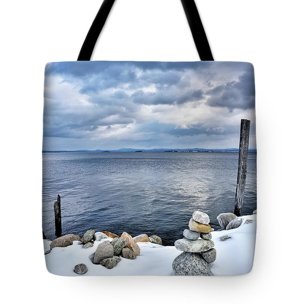 Tote Bag featuring the photograph Lake Champlain During Winter by Brendan Reals