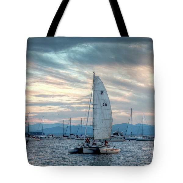 Tote Bag featuring the photograph Lake Champlain Sunset Sail by Susan Cole Kelly