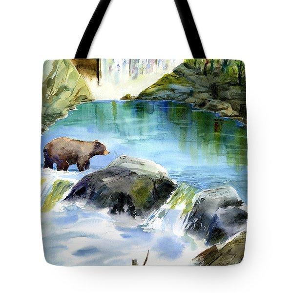 Lake Clementine Falls Bear Tote Bag