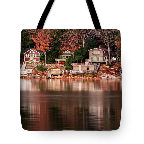 Lake Cottages Reflections Tote Bag
