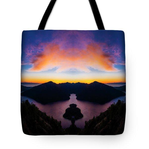 Lake Crescent Reflection Tote Bag by Pelo Blanco Photo