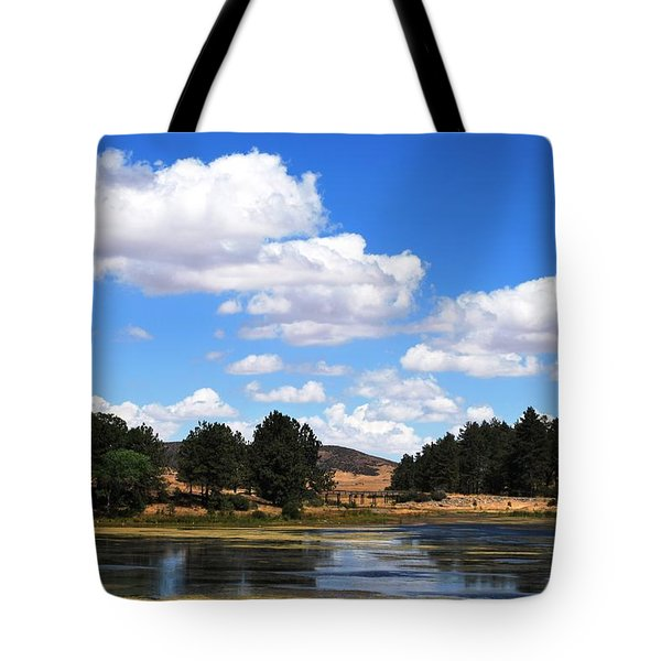 Lake Cuyamac Landscape And Clouds Tote Bag