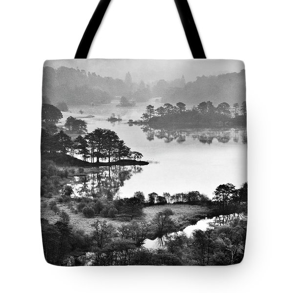 Lake District National Park. Rydal Water Winter Blue.    Black And White Tote Bag