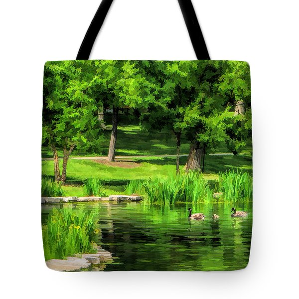 Tote Bag featuring the painting Lake Ellyn Geese by Christopher Arndt