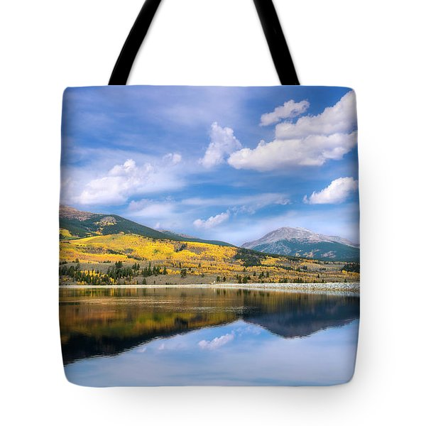 Tote Bag featuring the photograph Lake Forebay Reflections by Tim Reaves