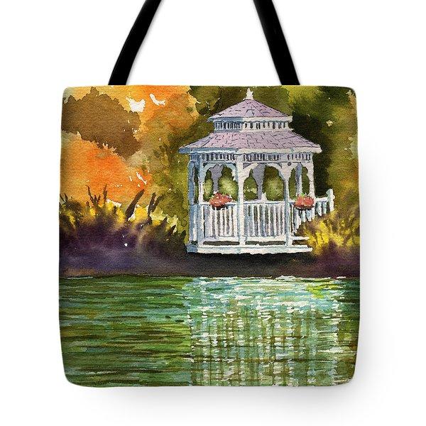 Lake Gazebo Tote Bag