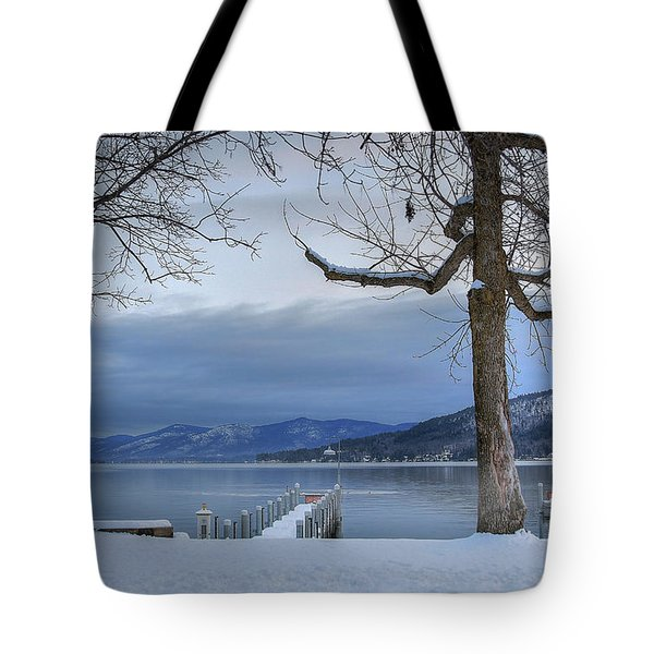 Lake George In The Winter Tote Bag by Sharon Batdorf