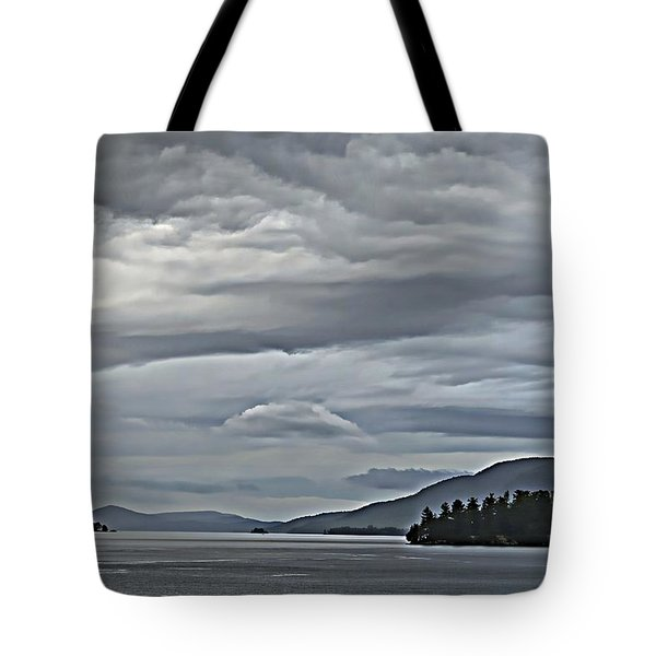 Lake George Rain And Clouds Tote Bag