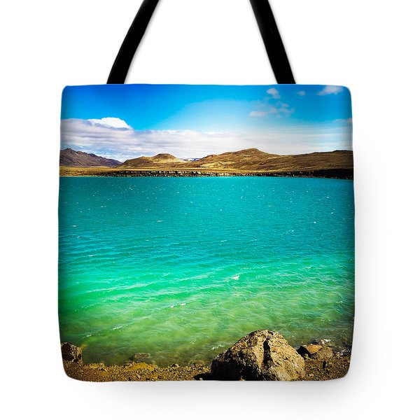 Lake Graenavatn In Iceland Green And Blue Colors Tote Bag by Matthias Hauser