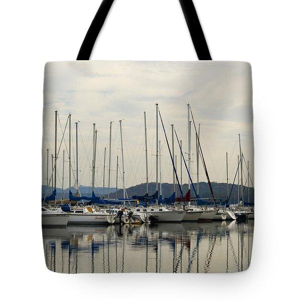 Lake Guntersville Alabama Sailboat Harbor Tote Bag by Kathy Clark