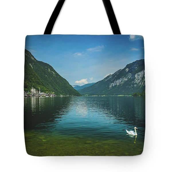 Lake Hallstatt Swans Tote Bag