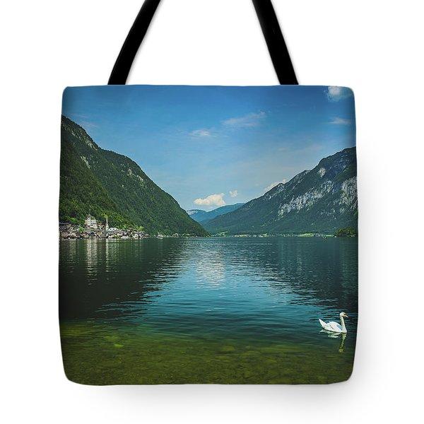 Lake Hallstatt Swans Tote Bag