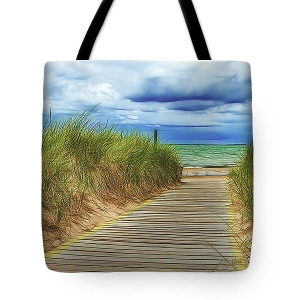 Tote Bag featuring the photograph Lake Huron Boardwalk by Bill Gallagher